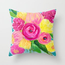 Bouquet of Flowers, Pink and Yellow Flowers, Painting Flowers in Vase Throw Pillow