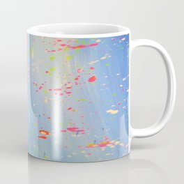 Blue Neon Paint Splatter Coffee Mug