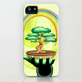 Bonsai Tree and Rainbow on Green Hand - Protecting Nature iPhone Case