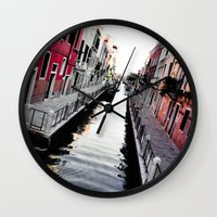 channel Wall Clocks featuring Venice Channel by Karina Faiani
