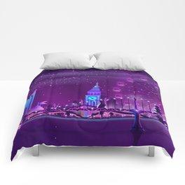 Synthwave Neon City #3 Comforters
