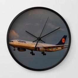 A Lufthansa Plane Peparing For Landing Wall Clock