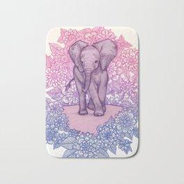 Cute Baby Elephant in pink, purple & blue Bath Mat