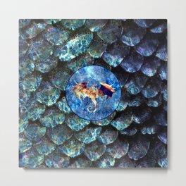 Dragon Scale Pattern Saphira Metal Print