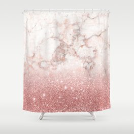 Elegant Faux Rose Gold Glitter White Marble Ombre Shower Curtain