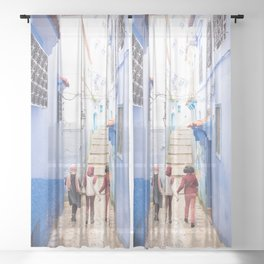 Sunny days Ahead - Chefchaouen, Morocco - The Blue City Sheer Curtain
