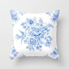 Blue asiatic pheasant Throw Pillow