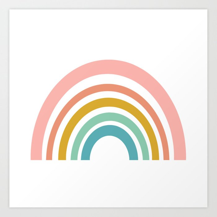 Simple Happy Rainbow Art Art Print