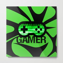 Gamer Green V2 Metal Print