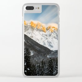 Last light of sunset on Slovenian Alps Clear iPhone Case