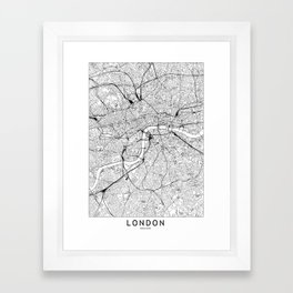 London White Map Framed Art Print