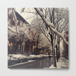 Photo of the beautiful Brooklyn Heights covered in icy snow Metal Print
