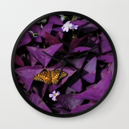 Purple Oxalis Wall Clock