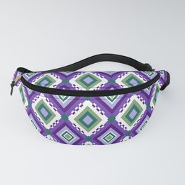 Ikat inspired purple and green abstract geometric pattern Fanny Pack