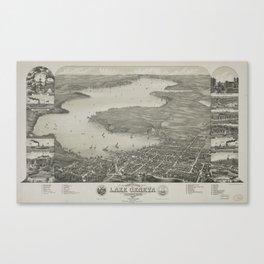 Vintage Pictorial Map of Lake Geneva WI (1882) Canvas Print