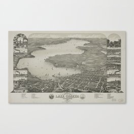 Vintage Pictorial Map of Lake Geneva WI (1882) Canvas Print