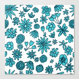Blue Flowers on White Canvas Print