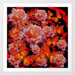 Monarch Butterflies & Old Roses Montage Art Art Print