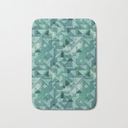 Green watercolor tangram triangle pattern Bath Mat