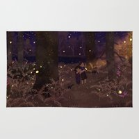 fireflies Area & Throw Rugs featuring fireflies by Lara Paulussen