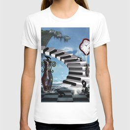 Piano on the beach with clef T-shirt