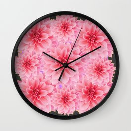 PINK DAHLIA FLOWERS IN GREY DESIGN Wall Clock