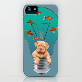 Bordeaux Bulldog Puppy in Bulb with goldfishes iPhone Case