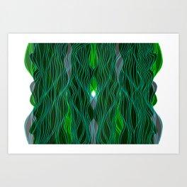 Parallel Lines No.: 03. - Blue-Green, Symmetrical Art Print