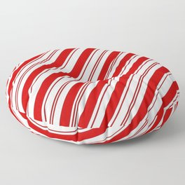 winter holiday xmas red white striped peppermint candy cane Floor Pillow