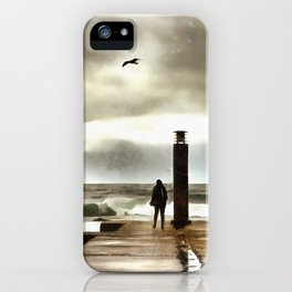 The girl in the storm, Cascais (Portugal) iPhone Case