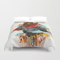 depression Duvet Covers featuring  Happy Depression by niuku