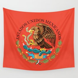 Mexican seal on Adobe red Wall Tapestry
