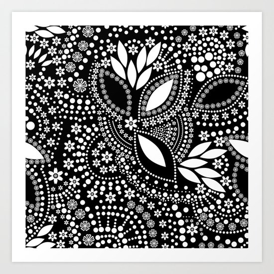 Placer of white beads on a black background . Art Print