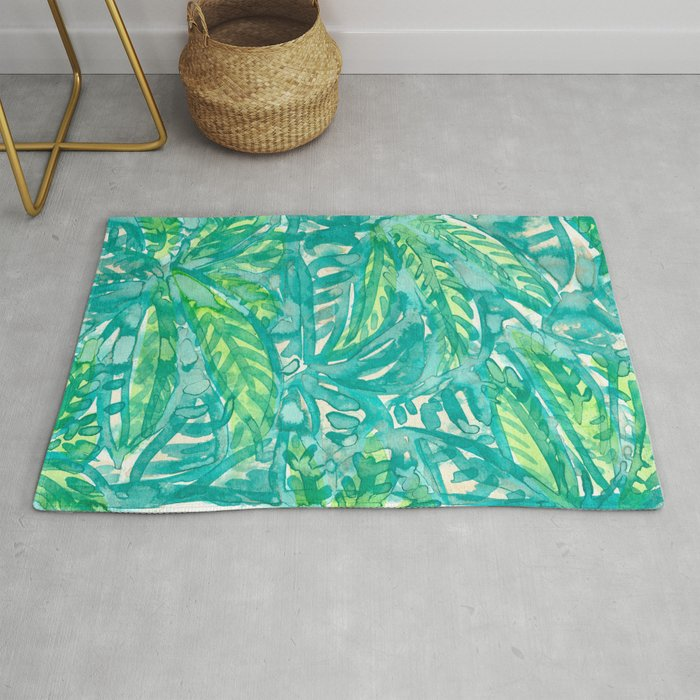 Turquoise Lime Leaves Rug By
