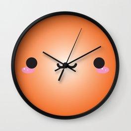 Kawaii Face (Orange) Wall Clock