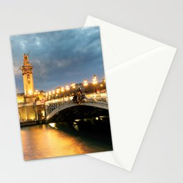 Night view of Paris Bridge Alexandre III Stationery Cards