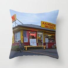 Neighborhood meat market Throw Pillow