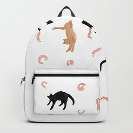 Cats and Shrimp floating in white space Backpack