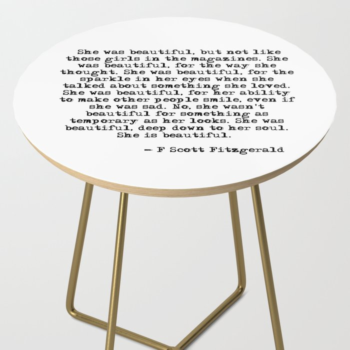 She Was Beautiful Fitzgerald Quote Side Table By Quoteme Society6