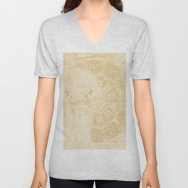 Ghostly alpaca and mandala in Iced Coffee browns Unisex V-Neck
