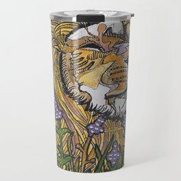 Lion in Lavender Painting Travel Mug