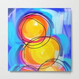 Paint abstract circle blue yellow Metal Print