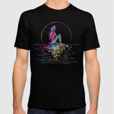 The Little Mermaid Ariel Silhouette Watercolor LARGE Mens Fitted Tee Black