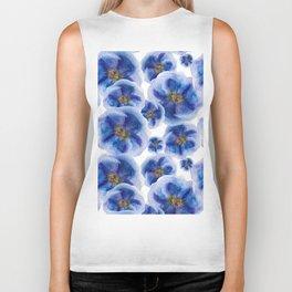 Watercolor Blue Flowers Biker Tank