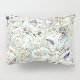 Pale Bright Mint and Sage Art Deco Marbling Pillow Sham