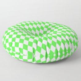 Bright Neon Green and White Harlequin Diamond Check Floor Pillow