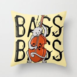 Cat Playing A Double Bass Throw Pillow