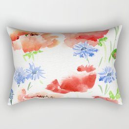 Orange Poppies with Blue Cornflowers Rectangular Pillow