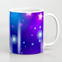 Milky Way Abstract pattern with neon stars on blue background Coffee Mug