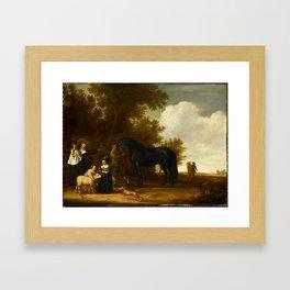 Jacob Gerritsz Cuyp, Groepsportret in een landschap Framed Art Print